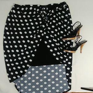 Ashley Stewart polka dot high low skirt